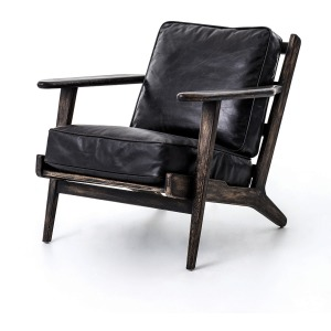 Brooks Lounge Chair-Ebony, Blk Wsh Weath