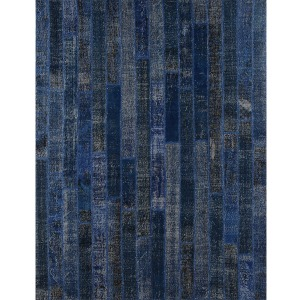 Patchwork Brick Rug 9\'x12\'-Dark Blue