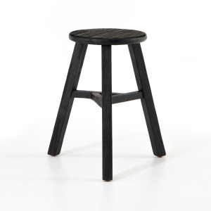 Hattie Round Accent Stool - Black