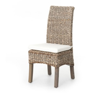Banana Leaf Chair W/Cushion-Grey Wash