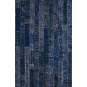 Patchwork Brick Rug 5\'x8\'-Dark Blue