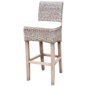 Banana Leaf Barstool W/Cushion-Grey Wash