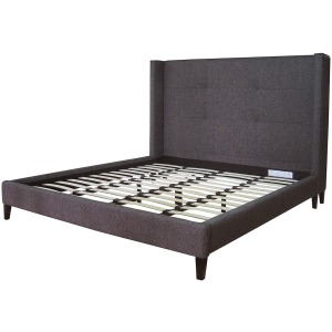 Madison Upholstered King Bed-Charcoal