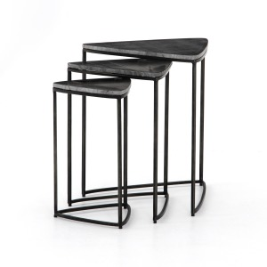 Raine End Table - Hammered Grey