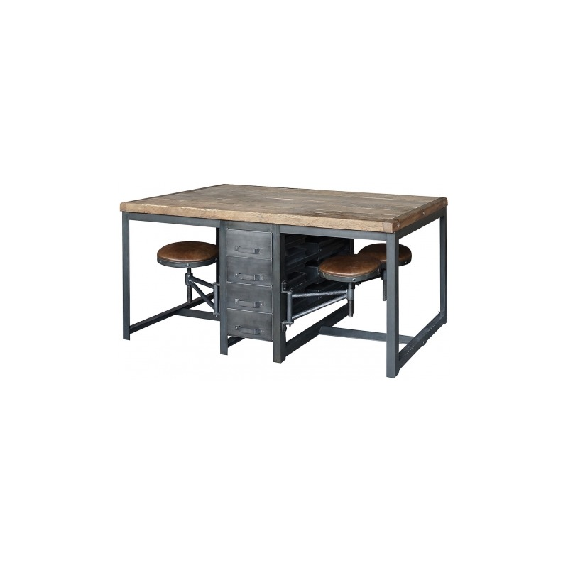 Rupert Work Table-Rustic Blk/Bp