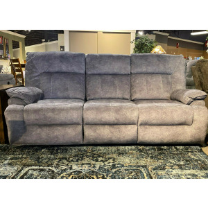 Double Reclining Sofa with Drop Down Table - Stormy Hazy Gray