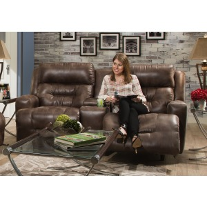 Armstrong Faux Leather Reclining Console Loveseat