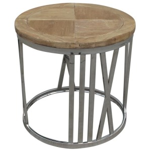 Round Stainless Steel End Table