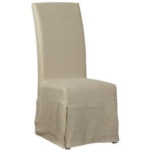 Linen Floor Length Slip Covered Parsons Chair