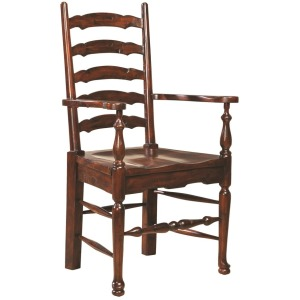Ladderback Arm Chair w/ Wood Seat