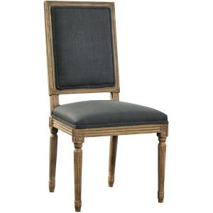 Gray Linen & Oak Side Chair