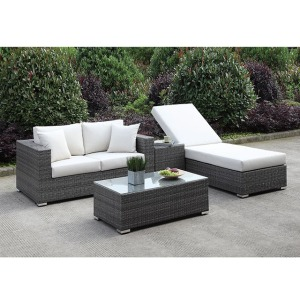 Somani Loveseat & Adj Chaise & End Table & Coffee Table