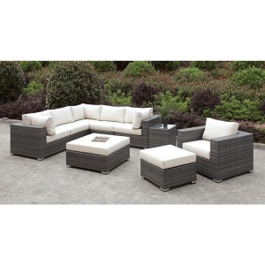 Somani L-Sectional & Chair & 2 Ottomans