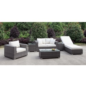 Somani Loveseat & Chair & Adj Chaise & 2 End Tables & Coffee Table