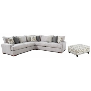 Alton Silver 3 PC Sectional + Mountain View Cement Ottoman