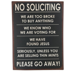 Plaque - No soliciting