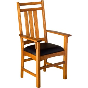 Mission Slat Arm Chair w/ Leather Seat