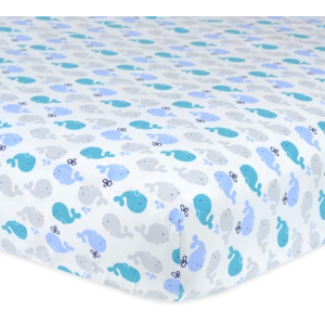 Boys Blue Whales Fitted Crib Sheet