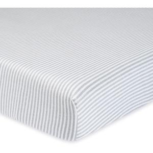 Neutral Grey Stripe Organic Fitted Crib Sheet