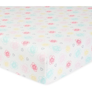 Girls Floral Organic Fitted Crib Sheet