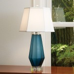 Fluted Urn Frosted Lamp-Blue