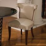 Casino Chair-Beige Leather w/Nickel Tacks