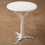 White Faux Bois Side Table