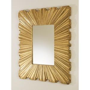 Linen Fold Mirror-Brass