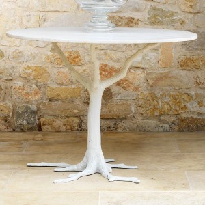 White Faux Bois Dining Table