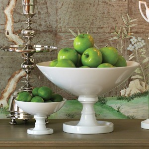 White Grand Pedestal Bowl-Large