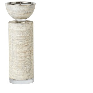 Scratched Pillar Candle Holder - White - Large