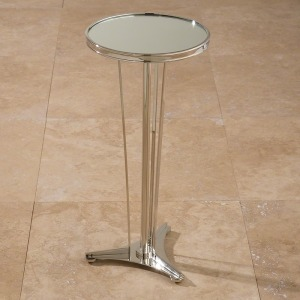 French Moderne Side Table-Nickel & Mirror