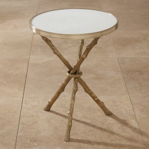Twig Table-Brass & White Marble
