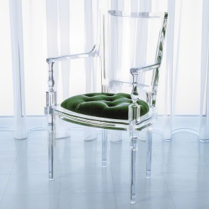 Marilyn Acrylic Arm Chair-Emerald Green