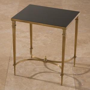 Rectangular French Square Leg Table-Brass & Black Granite