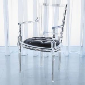 Marilyn Acrylic Arm Chair-Pewter-Grey