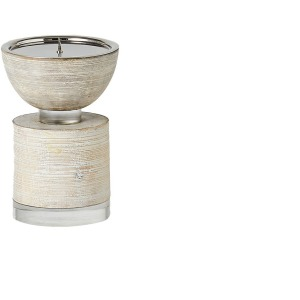 Scratched Pillar Candle Holder - White - Medium