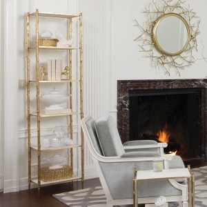 Arbor Etagere-Brass & White Marble
