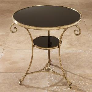 Gueridon Table-Brass & Black Granite