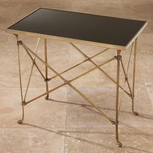 Rectangular Directoire Table-Brass & Black Granite