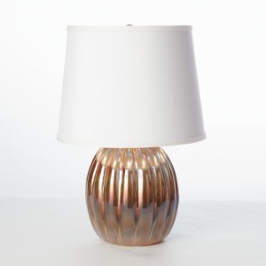 Mini Amber Ribbed Glass Lamp