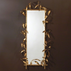 Bamboo Mirror w/Gold Finish