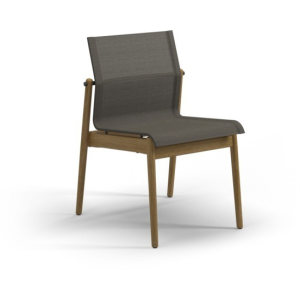 Sway Teak Stacking Side Chair - Meteor Frame w/Granite Sling