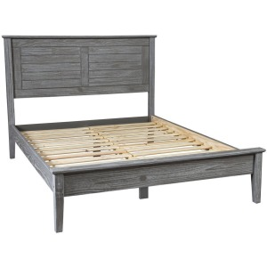 Greenport Queen Louvered Platform Bed - Brushed Grey