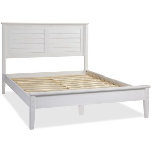 Greenport Queen Louvered Platform Bed - Brushed White