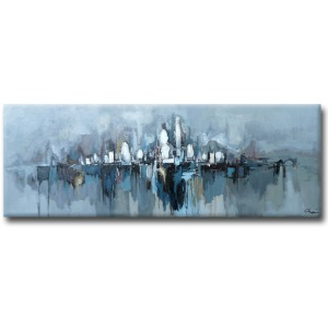 City In Fog 30×80 Hand Painted