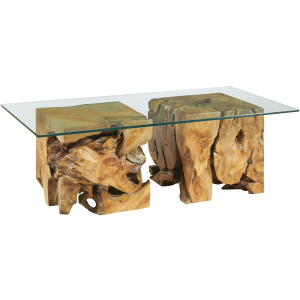 Square Root Table with Glass Top