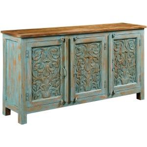 Hidden Treasures Vintage Blue Three Door Cabinet