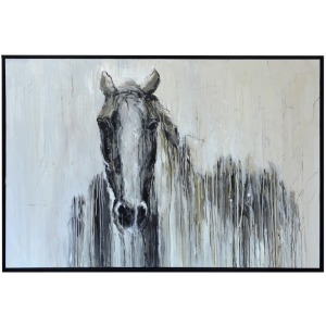 "Blaze Framed Canvas Art - Hand Painted Horse 1.5"" Frame"
