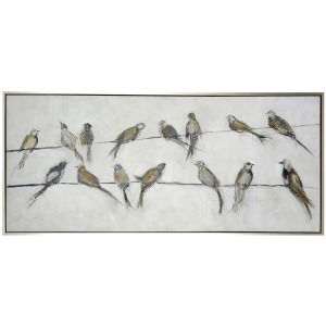 Birds on a Wire Framed Canvas Art